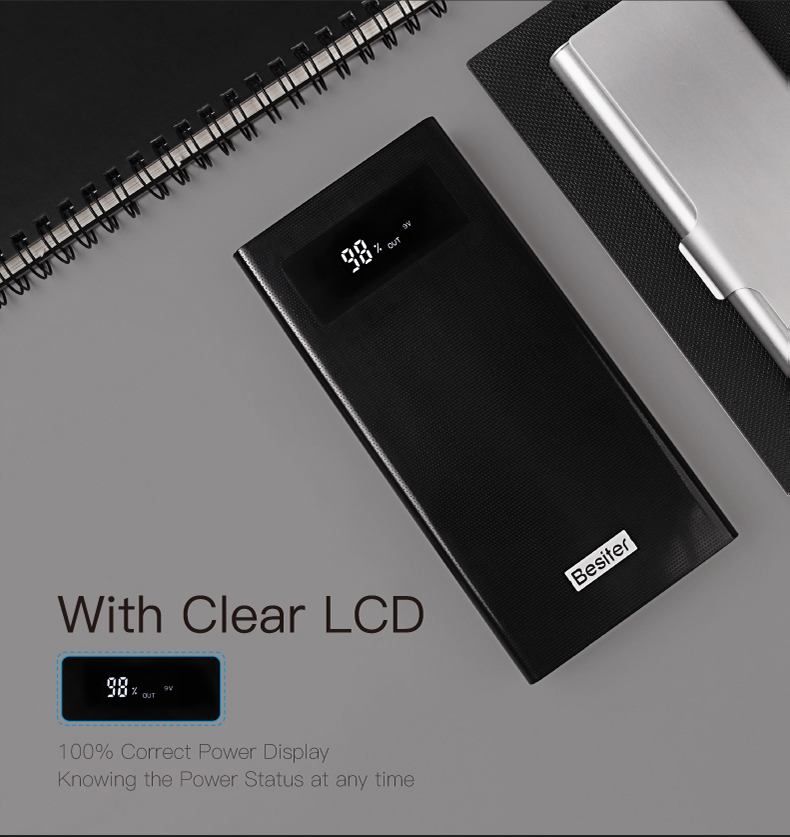 Besiter Power Bank 000 mAh For Xiaomi Mi 2 Quick Charge 3.0 PowerBank Portable Charger External Battery For iPhone Pover Bank 18