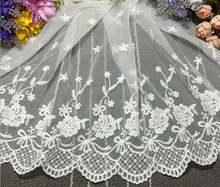 Novelty DIY lace fabrics 14 yards/lot width35cm High-quality white,black mesh embroidery lace fabrics/wedding Accessories XZ017