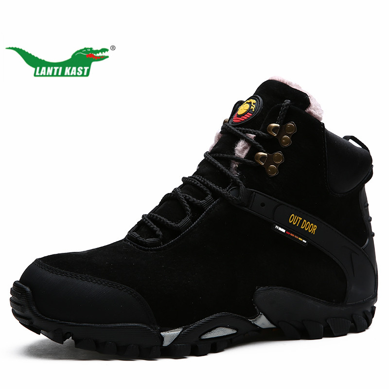 LANTI KAST Men Hiking Boots Winter Thermal Fur High Top Genuine Leather Trekking Shoes Comfortable Warm Rubber Walking Sneakers<br>