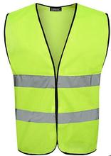 Safety Gear Night Reflective Jacket Reflective Traffic Fluorescent Green Vest Logo Printing GM0704
