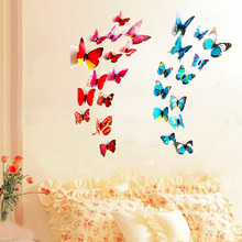 New Hot 6 Big and 6 Small 3D Butterfly Wall Stickers Butterflies Decors For Home Fridge Decoration Gossip Girl Same Style(China)