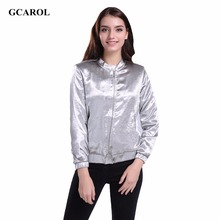 GCARO 2017 Women Silver Bright Jacket With Lining High Quality Smooth Soft Cropped Coat OL New Spring Autumn Winter Outwear