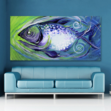 HDARTISAN Animal Abstract Painting Average Canvas Art Swimming Purple Fish Wall Pictures For Living Room Home Decor Printed