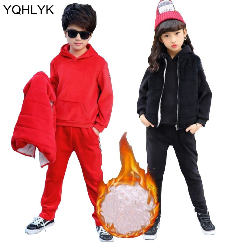 2018 New Winter Girl Suit Casual Hooded Boys Parka Childrens Clothes Thickening Vest + Warm Tops+ Pants 3 Pcs Set Kids Suit W87<br>