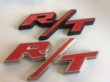 1pcs 3d  black red silver red Metal R/T RT Grill Trunk Side Emblem Badge Stickers for RT Challenger Charger