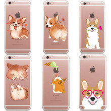Super Cute Cartoon Dog Big Ass Corgi rose Pug Thin Transparent Soft TPU Phone Cases Cover For iPhone 5 5S SE7 Plus 7 6 6S Plus(China)