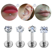4pcs/lot Hot 16G Round Nose Piercing Labret Clear Heart Star Ear Lip Piercing Square Nose Ring Cartilage Tragus Pircing Flat End(China)