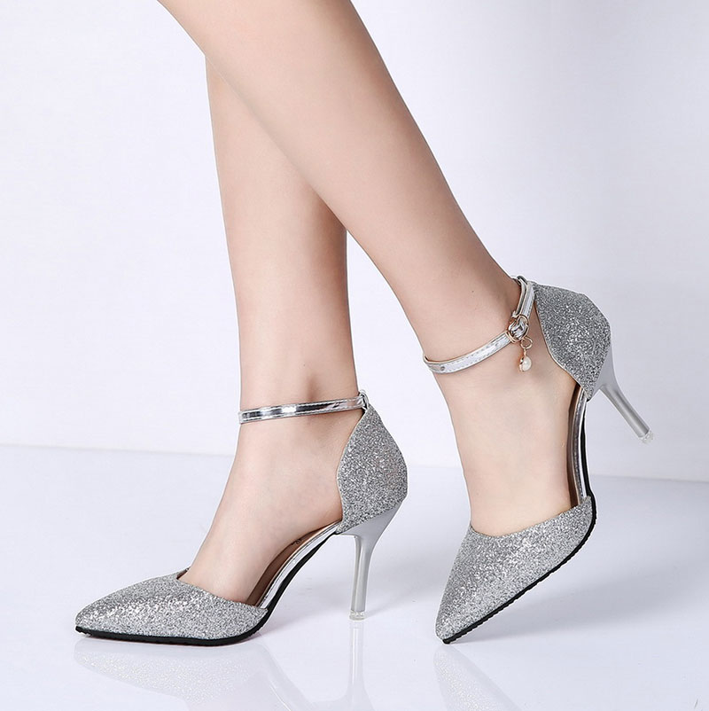 Lucyever Fashion Buckle Crystals Bling Pumps Women Elegant Thin High Heels Point toe Party Wedding Shoes Woman Glod Sliver Black 2