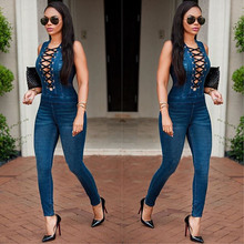 2017 Hot Sale Spring Women Denim Jumpsuit Rompers Front Tie Up Sleeveless Blue Jean Bodysuit Skinny Jumpsuits Womens Overalls(China)