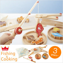 Candice guo Wooden toy wood puzzle baby birthday gift fishing cooking kitchen play house magnetic fish game christmas present