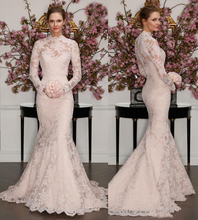 2017 New Arrival Full Lace Vintage Wedding Dresses Mermaid Long Sleeve Two Pieces Sweep Train Country Western Bridal Gowns