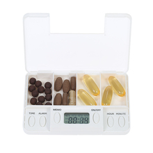 4 Grid Pill Reminder Medicine Alarm Box Organizer with Timer Set Portable Pill Dispenser Planner Electronic Pill Box Case(China)