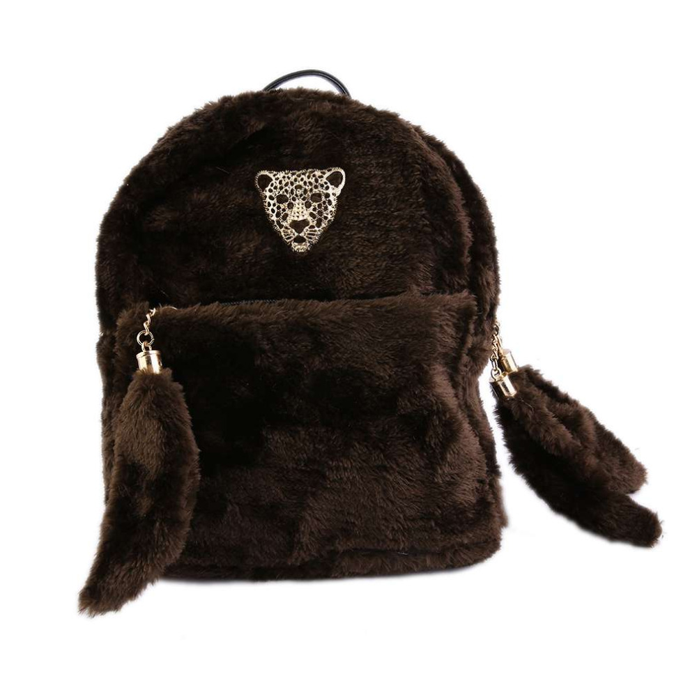 Winter New Style Cool Women Lady Plush Shoulder Bag 2017 Fashionable Leopard Head Decoration Backpack With Zipper 2017 Hot Sale<br><br>Aliexpress