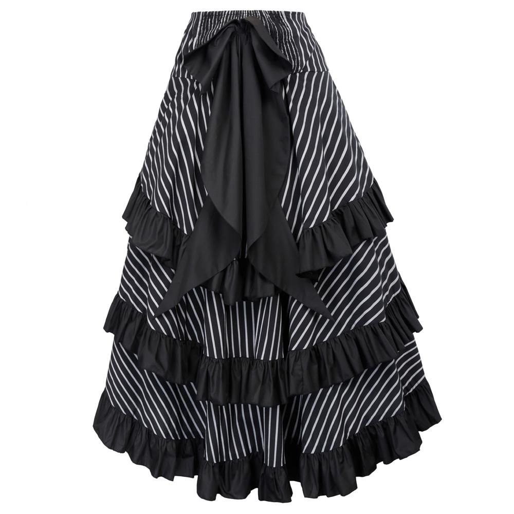 2019 Belle Poque Steampunk Skirt Summer Autumn Women Sexy Striped ... 307a7871770f