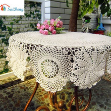 SaiDeng Crochet Flower Table Cover Vintage Hollow Round Tablecloth Home Decoration Main Color:Beige Main Size:diameter 90cm