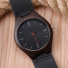Modern Men Women Minimalist Black Genuine Leather Band Strap Creative Nature Wood Wrist Watch Quartz Analog Fashion