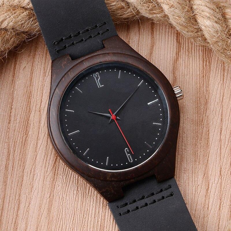Modern Men Women Minimalist Black Genuine Leather Band Strap Creative Nature Wood Wrist Watch Quartz Analog Fashion<br><br>Aliexpress