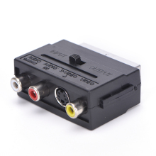 High Quality 1 x 21 Pins SCART Male Plug To 3 RCA Female AV TV Audio Video Adaptor Converter