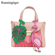 Cheap Women Flamingo Bags PU Leather Fashion Handbag Tote Female Flaming Style Bag Lady Design Sac Top-Handle Crossbody Bag