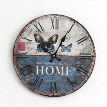 Antique Wooden Wall Clock Decorative Butterfly Solid Wood Clock Roman Numerals Time Watch Electronic Wall Clocks
