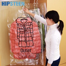 HIPSTEEN 1Pcs M/L Side Zipper Space Saver Bag Vacuum Compression Seal Bag Storage Bag with Hook