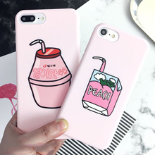 "LOVECOM For iPhone 6 6S Plus 7 Plus Soft Silicon Monile Phone Case Drinks Milk ""PEACH"" Letter Pink Cases Back Cover Funda Coque"