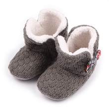 Winter Warm Baby Snow Boots Gray Baby Crochet Shoes Bowknot Boot First Walkers