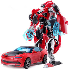 NEW Red Car Hot Sale 18.5cm Big Classic Transformation Education Plastic Robot Cars Toy Wholesale With Retail Box for kids gifts