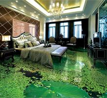 Chinese style 3D Foor Painting Wall paper Mural 3d Flowers And Plants For Living Room Bathroom 3D Floor Murals Background(China)