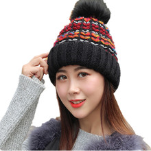 2017 Fashion Real Pompom Knitted Woolen Women's Hats Plus Cashmere A cap Beautiful Women's Winter Hats Outdoor Mask Of The Fkull(China)