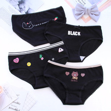 Buy 4pcs/lot Black Briefs Women Cotton cute Print lace Panties Female Underpants Girls Cute Seamless Underwear Ladies Panty