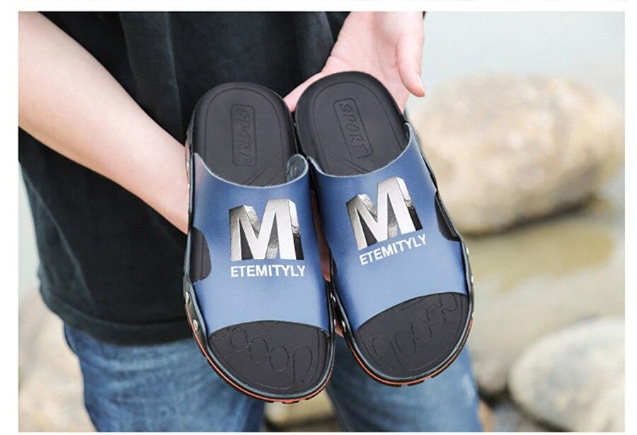 Plus Size Summer Slippers Outdoor Men Casual Sandals Beach Shoes Split Leather Non-Slip Flip Flops Mens Flats Euro 38-45 DR007 16 Online shopping Bangladesh
