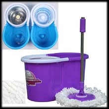 by DHL or EMS 10 pieces New Magic Spin Mop Bucket Stainless Steel Rotate 360 with 2 heads Easy ASAP
