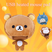 USB heated mouse pad with wrist rest soft comfortable cartoon heating mouse mat for laptop desktop computer various styles(China)