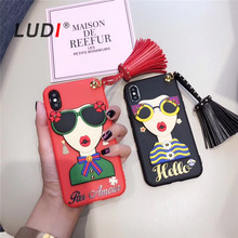 LUDI Hot 3D Sunglasses Modern Girl Goddess Rivet Tassels Cover for iphone X 8 8Plus Soft TPU Case For Iphone 7 6 6S Plus(China)