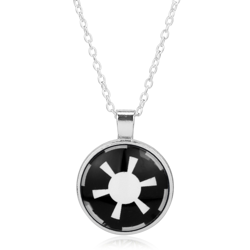 Glass Dome Cabocho Pendant Necklace Collier Women Star Wars Jewellery Galactic Empire Jewelry Chain For Men Accessories Colar(China (Mainland))