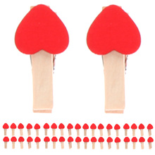 50pcs Min Love The Small Red Wooden Clip Log Photos Clip Wedding Party Decoration CA1T