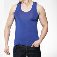 Buy Undershirt male viscose seamless vest male slim basic tight-fitting vest mens singlet tops mens singlet underwear plus size for $17.90 in AliExpress store