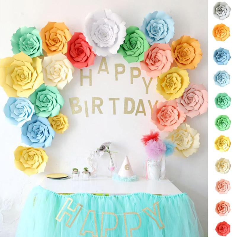 Valentine Day DIY Paper Flower Wedding Room Birthday Party Dressert Table Dress Up Paper Shop DIY Window Flower Tanabata Decor25(China)