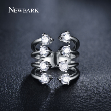 NEWBARK Wholesale Unique 8 Claws Wide Open Rings For Women Rose Gold Color Round CZ Ring Trendy Jewelry Gifts
