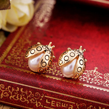 ES180 Ladybug Fashion Jewelry Stud Earrings Simulated-Pearl Brincos For Women HOT Selling