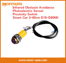 Fast Free Ship 5pcs/lot  Infrared Obstacle Avoidance Photoelectric Sensor Proximity Switch Smart Car 3-80cm E18-D80NK