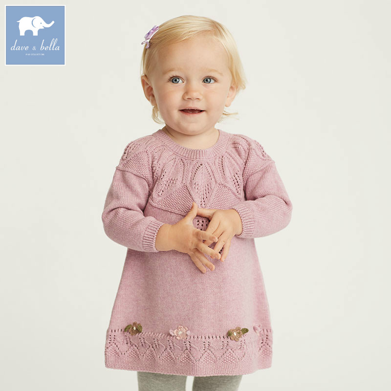 DB5793 dave bella infant baby girls knitted sweater dress kids fashion birthday dress children toddler clothes<br>