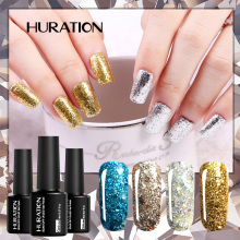 Huration Diamond Soak Off Gel UV LED Gel Nail Polish Glitter Nail Pink 20 Color Need Lamp Nail Sequins Gel Varnish(China)
