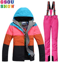 GSOU SNOW Brand Ski Suit Women Winter Outdoor Ski Jacket Pants Waterproof Mountain Skiing Suit Snowboard Sets Jacket Pants(China)
