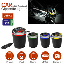 Multi Function Car Power Adapter with Dual USB Ports Car Charger 3.1A + 2-Socket Cigarette Lighter for iPhone For Samsung GPS(China)