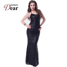 RA7890 Nice Sexy Low Back Gown Long Dress Black Blue Summer Elegant Long Dress Backless Halter Sequin Women Dress Party(China)