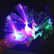 Creative Peacock LED Finger Ring Lights Beams Party Nightclub Colour Rings Children Gifts Event & Party Supplies L50(China)