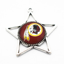 Star 10pcs NFL American Football Glass Pendant Washington Redskins Team Dangle Charms Fit Bracelet Necklace Jewelry
