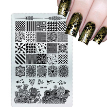 NEW 2017 Glitter Square Stamping Plates Nail Art Stencils Templates DIY Salon Polish Decor for Manicure Stamp Nail Tools(China)